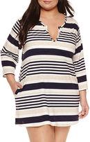 Porto Cruz Stripe Jersey Swimsuit Cover-Up Dress-Plus