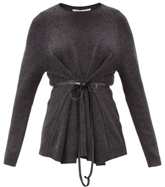 Valentino Belted Wool-blend Sweater - Grey