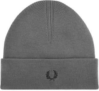 Fred Perry Merino Wool Logo Beanie Hat Grey