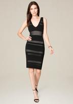 Bebe Mesh Deep V-Neck Dress