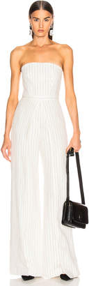 Alexis Charlize Jumpsuit in White Pinstripe | FWRD