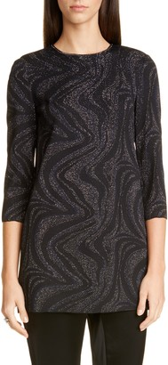 St. John Metallic Marbled Jacquard Knit Tunic
