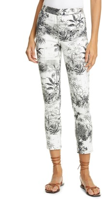 Adam Lippes Palm Print Stretch Twill Ankle Cigarette Pants