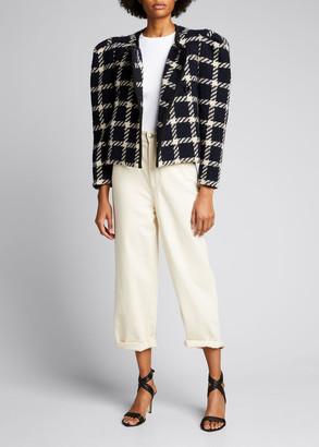 Isabel Marant Plaid Jacket w/ Structured Shoulders