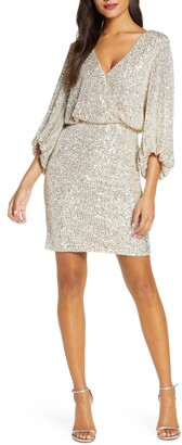Eliza J Sequin Blouson Cocktail Dress