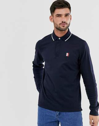 Tommy Hilfiger slim fit long sleeve polo with collar tipping in navy