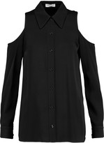 Sonia Rykiel Cold-shoulder satin-crepe shirt