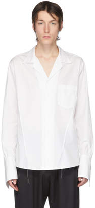 Sulvam White Poplin Open Collar Shirt