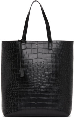 Saint Laurent Black Croc Shopping Bag