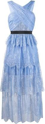 Self-Portrait tiered lace midi dress