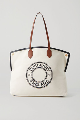 Burberry Large Leather-trimmed Printed Canvas Tote - Ecru