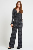 BCBGeneration Diamond Print Surplice Jumpsuit - Black