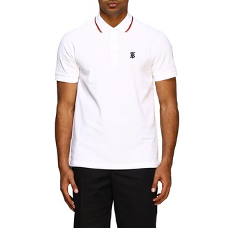 Burberry Short-sleeved Polo Shirt With Embroidered Tb Logo