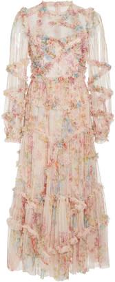 Needle & Thread Floral-Print Ruffled Tulle Mini Dress