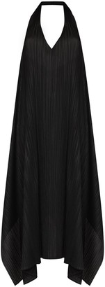 Pleats Please Issey Miyake pleated plunging V-neck dress