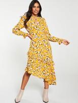 Very AsymmetricRuffle Midi Dress - Print