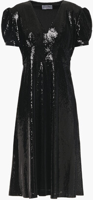 HVN Gathered Sequined Woven Dress