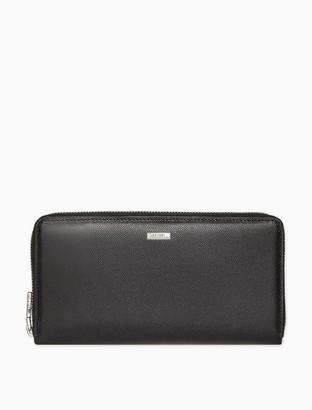Calvin Klein Caviar Leather Travel Zip Wallet