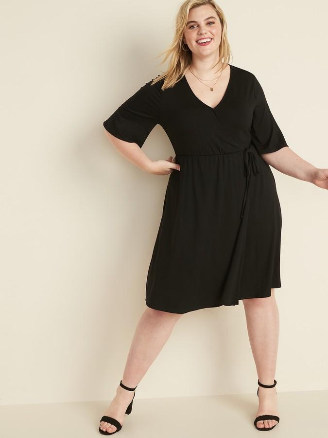 Fit & Flare Faux-Wrap Plus-Size Dress