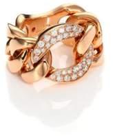 Roberto Coin Gourmette Diamond & 18K Rose Gold Chain Ring