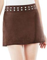 BCBGMAXAZRIA Dorthy Grommeted Faux-Suede Mini Skirt