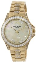 Akribos XXIV Women's AK670YG Impeccable Swiss Quartz Crystal Mother-of-Pearl Gold-tone Stainless Steel Bracelet Watch