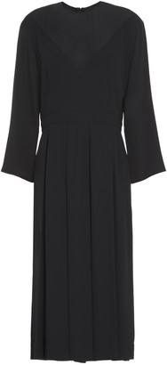 Marni Pleated Paneled Crepe And Crepe De Chine Midi Dress