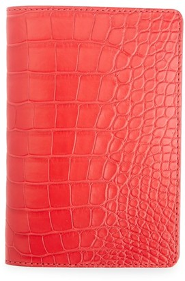 Royce New York Croc-Embossed Leather Passport Case