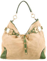 Miu Miu Woven Leather-Trimmed Hobo