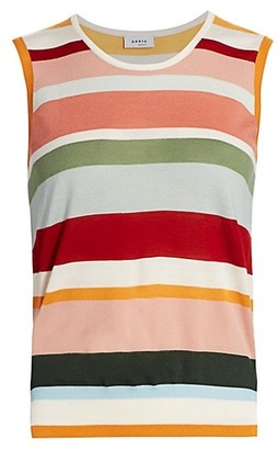 Akris Punto Multicolor Stripe Wool Sleeveless Knit Top