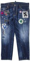 DSQUARED2 Blue Cotton Jeans Boyfriend With Patches