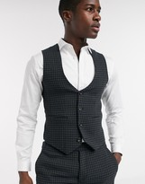 Asos Design DESIGN skinny suit suit vest in wool mix houndstooth in khaki