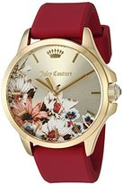 Juicy Couture Women's 'Jetsetter' Quartz Gold-Tone and Silicone Quartz Watch, Color:Red (Model: 1901484)