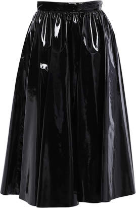 MSGM Faux Patent-leather Midi Skirt