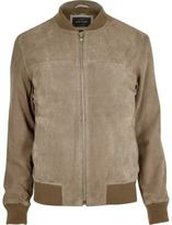 River Island MensLight grey suede bomber jacket