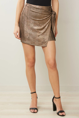 A Love Like You Knit Metallic Wrap Skirt Gold XS