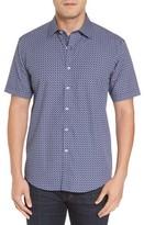 Bugatchi Men's Shaped Fit Geo Print Sport Shirt
