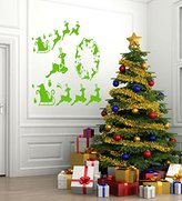 CristinaDecals Merry Christmas Deer Gifts Santa Claus Kids Room Children Stylish Wall Art Sticker Decal G8909