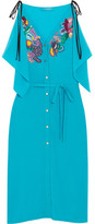 Matthew Williamson Embellished Embroidered Silk Crepe De Chine Dress - Turquoise