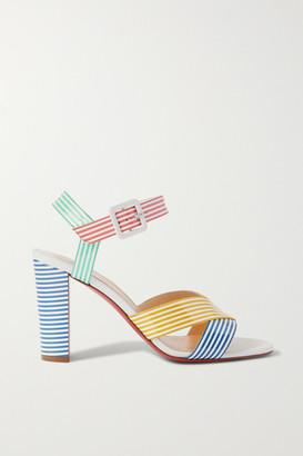 Christian Louboutin Palavas 85 Striped Patent-leather Sandals - Blue
