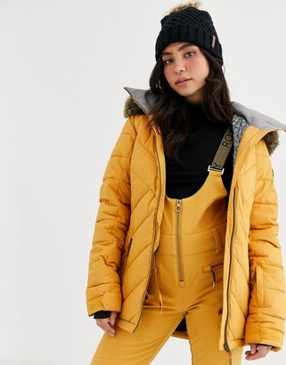 Roxy Snow Quin ski jacket in quilted yellow