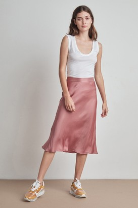 Velvet by Graham & Spencer Calissa Satin Viscose Midi Skirt