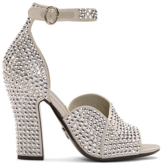 Prada Silver Crystal Embellished Strappy Heeled Sandals