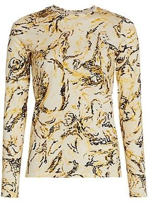 Proenza Schouler Printed Tissue Jersey Long-Sleeve Top