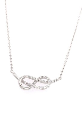 Breuning 14K White Gold Diamond Infinity Pendant Necklace - 0.11 ctw