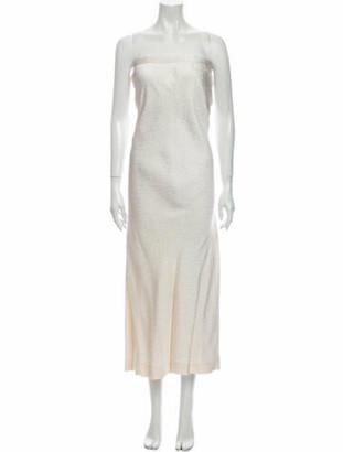 Oscar de la Renta Strapless Long Dress White