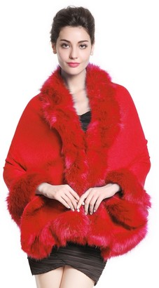 BEAUTELICATE Womens Faux Fur Wrap Shawl Stole for Wedding (8 Colors) S-55 Red