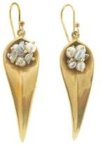 Annette Ferdinandsen Long Day Flower Earrings with Pearls - Yellow Gold