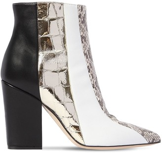 Sergio Rossi 90MM SNAKESKIN & LEATHER ANKLE BOOTS