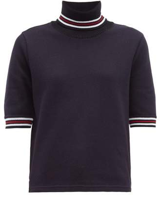 Thom Browne Striped Cotton Pique Roll Neck T Shirt - Womens - Navy